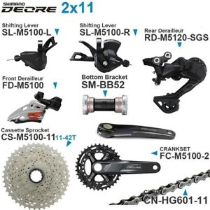 New Shimano Deore M5100 2X11 22-speed Group Groupset 26-26/170MM 42T M5120 SGS