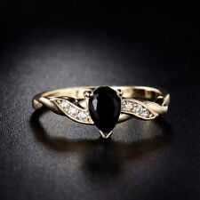 Women  Gold Plated Black Topaz Crystal Water Drop Journey Ring 5-9
