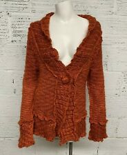 Boston Proper Womens Boho Orange Wool Cardigan Sweater Women Size L