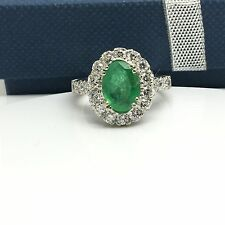 14k White Gold Oval Natural Emerald And Diamond Halo Ring. May Birthstone