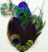 ONE PHEASANT FEATHER PAD - Purple Quill Pad (#P84); Headband/Bridal/Burlesque