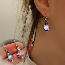 Women Vintage Retro Rainbow Moonstone Ear Studs Dangle Earring Silver Plated