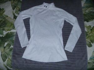 WOMENS UNDER ARMOUR LONG SLEEVE WHITE FITTED T SHIRT INFRARED COLDGEAR