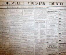 Rare original 1848 LOUISVILLE COURIER Kentucky newspaper pre Civil War 166 yrOld