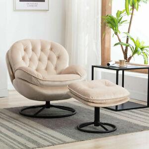Accent Chair TV Chair Living Room Velvet Upholstered Chair Beige Sofa w/Ottoman
