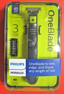 NIP Philips Norelco OneBlade Hybrid Wet/Dry Electric Trimmer/Shaver w / 3 Combs