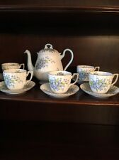 Shelley Tea Pot 2294 Blue Forget Me Not Flowers & 5 Regency cups/saucers England