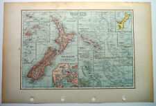 Map Of Islands Of The Pacific Ocean New Zealand  C1930 Antique