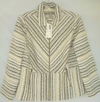 New CHICO'S size 2 Women Front Zip Tweed Jacket Black Cream Beige Lined NWT