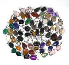 100 PCs Natural Rose Quartz, Tigers Eye Mix Gemstone .925 Silver Plated Pendants