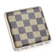 Checked Leather Metal Cigarette Case Holder Box for 20 Regular Size Cigarettes