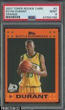 2007-08 Topps Orange #2 Kevin Durant Seattle Supersonics RC Rookie PSA 9 MINT