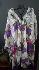 COLOURFUL WHITE FLORAL KAFTAN  RESORT CASUAL LOOSE BOHEMIAN BATWING TOP ONE SIZE