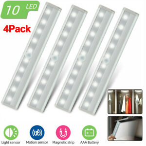 4 Pack Motion Sensor Under Cabinet Lighting 10 LED Wireless Closet Night Light
