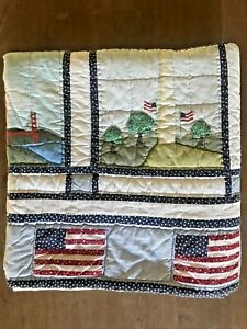 Hand Quilted National Landmarks American Flag Quilt 86x84
