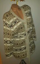 LIZ CLAIBORNE AZTEC NORDIC CARDIGAN SWEATER WRAP L P EARTH TONES COTTON HEAVY