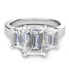 Three Stone 3.80 Carat GIA Certified Emerald Cut Diamond Engagement Ring