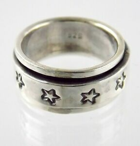 Sterling Silver Star Spinner Ring Stars Motif on Band 925 Size 10 Weighs 10.3g