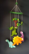 Baby's room/cot decoration felt made handcrafted hanging and mobile (Dinasour)