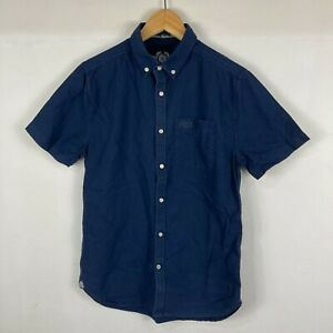 Superdry Mens Button Up Shirt Size S Small Slim Blue Short Sleeve Collared