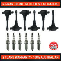 6x Genuine NGK Iridium Spark Plugs & 6x Ignition Coils for Nissan Skyline V36