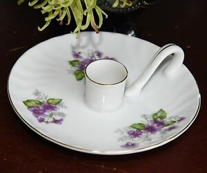 PORTABLE CANDLE HOLDER PORCELAIN PURPLE FLOWER VIOLETS HAND LOOP TAPER GOLD GILT