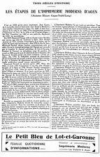 47 AGEN L' IMPRIMERIE MODERNE MAISONS GAYAU NOUBEL LAMY ARTICLE PRESSE 1931