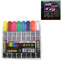 8 X Highlighter Neon Fluorescent Liquid Chalk Marker Pens for LED Writing Board
