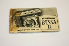 Camera Instruction Manual - Voigtlander Bessa II