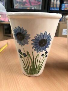 Vintage Flower Vase Wide Plant Pot Hand Painted 20 cm tall  Pretty Blue Flowers