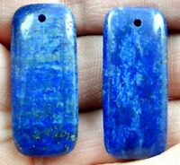 34*15MM Natural picture lapis lazuli agate pendant Gemstone Loose Beads 2PCS A_2