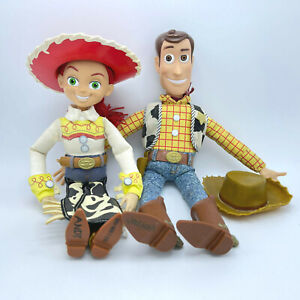 """Disney TOY STORY Woody & Jessie Talking Pull-String Doll Toys 15"""" And Hats Works"""