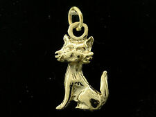 C012 Genuine 9K Solid Yellow Gold Detailed Cat Feline Charm 3D & jumpring
