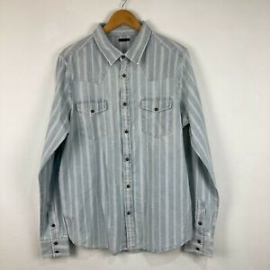 Wrangler Mens Button Up Shirt Size L Large Blue Striped Long Sleeve Collared