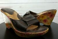Born Shoes Born Leather Cork Floral Wedge Sandal Size 6
