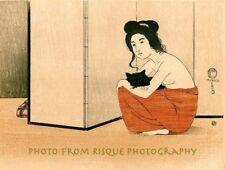 "Nude Japanese Woman Holding Black Cat 8.5x11"" Photo Print Fritz Capelari Art"