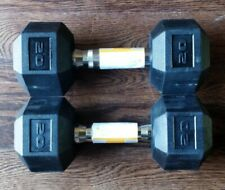 Cap 20 LB Rubber Hex Dumbbells Weights Set of 2 - Fast FREE SHIPPING