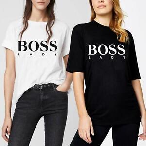 New Womens Ladies Boss Lady T-Shirt Oversized Summer Short Sleeve Tee Shirt Top