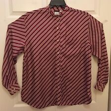 GIORGIO ARMANI Men's Maroon Striped Premium 100% Silk Button Down, Sz 39,15 1/2