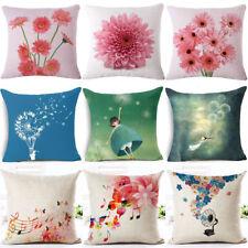 18'' Dandelion & Daisy Cotton Linen Pillow Case Sofa Cushion Cover Home Decor