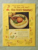 1949 Magazine Advertisement Page Chiquita Pan Fried Bananas A&P Spaghetti Ad