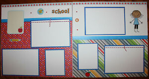 school scrapbook layout 2 pages each 12 x 12 handmade premade 3D photo ready