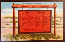 1950s Cattle Brands Marker Montana MT Tourist Souvenir Postcard Used Posted