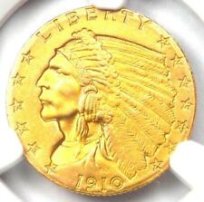 1910 Indian Gold Quarter Eagle $2.50 Coin - Certified NGC AU Detail - Rare Coin!