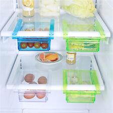 Plastic Kitchen Freezer Fridge Drawer Storage Rack Holder Slide Shelf Organizer
