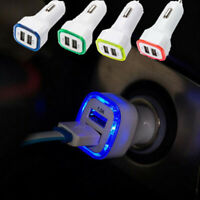 Mini 1.0A/2.1A Double USB Port Car Cell Phone Charger LED Adapter Accessories W