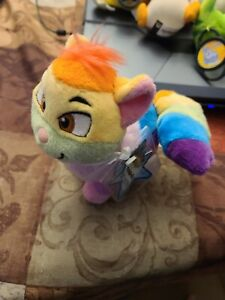 """RARE - Neopets Keyquest Series 4 Plushie Rainbow Wocky 6"""" New with Tags 2008"""