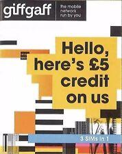 Giffgaff Giff Gaff 3 in 1 SIM FREE £5 Credit Unlimited Data (buy 1 get 2 free)