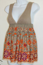 Free People Tank Top 4 S V Neck Cotton Sleeveless Beige Orange Floral FREE SHIP