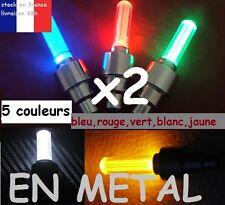 2x BOUCHON DE VALVE LED  METAL 5 COULEURS au choix VTT,MOTO,VOITURE avec piles